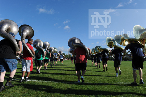 Members of the Notre Dame Marching Band march onto Stepan Field during move in day