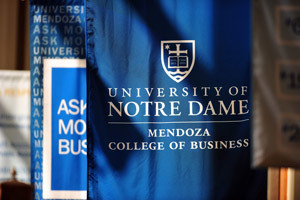 Mendoza blue banner reads: University of Notre Dame Mendoza College of Business