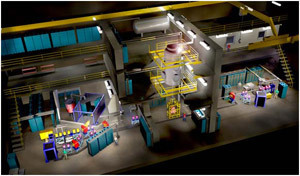 The figure shows an artist conception of the facility as presently planned, consisting of two high-intensity, low-energy accelerators