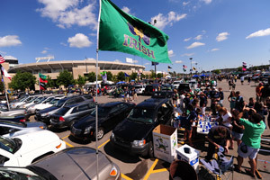 Tailgate party next to the stadium