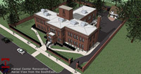 An artist's rendering of an aerial view of the Hansel Center