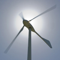 Closeup of a wind turbine
