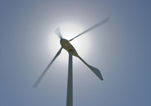 Close-up of a wind turbine