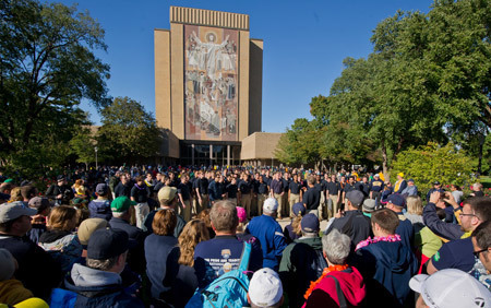 Notre Dame Glee Club performs on the Library Quad before the Michigan game 2012