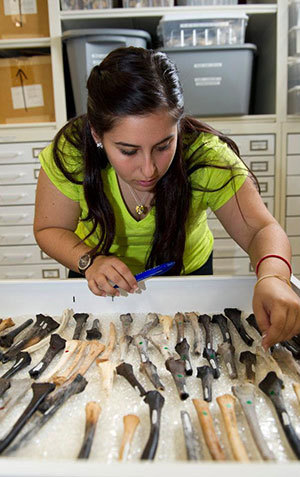 A student studies an array of bones
