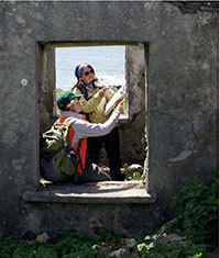 Elizabeth Elliott and Claire Brown on Inishark Island, Ireland