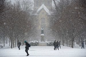 Students walk across the Main Quad during class change