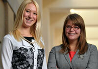 Cara O'Connor-Combee, left, and Anna Boarini are chairs of the 2013 Student Peace Conference