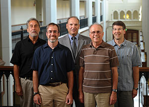 Notre Dame high-energy physicists (L to R) Mitch Wayne, Kevin Lannon, Colin Jessop, Randy Ruchti, Mike Hildreth and Nancy Marinelli (not pictured) worked with a number of international collaborators on the search for the Higgs boson